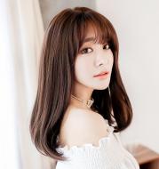 Wig female long straight hair air Liu Haiqi shoulder clavicle hair realistic chemical fiber wig headgear