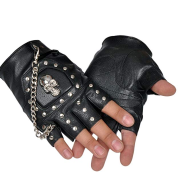 Minibee Fingerless Stud Metal Skull+chain Cycling Rock Gothic Punk Style Gloves