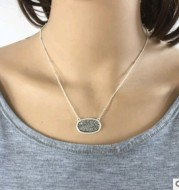 Electroplated silver resin alloy necklace short necklace chain plating effect color resin necklace