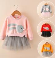 New spring infant skirt 1 long sleeved dress 2 female baby cartoon 3 4 princess dress lace dress tide