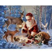 XXL - 5D Diamond Painting -  Weihnachtsmann und Tiere