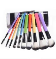 Black and white striped cylinder makeup brush set