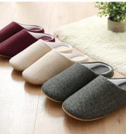 Men's Cotton Black autumn season Home Furnishing East indoor household warm slippers Muji soft bottom good anti-skid slippers