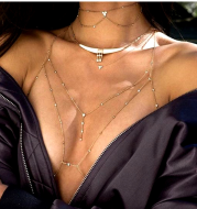 Europe and America sexy exaggerated beach casual body clothing chain accessories Flash diamond pendant tassel necklace chest chain