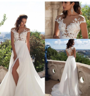 Bohemian wedding dress A word applique floor length chiffon bride dress custom side  elegant wedding dress