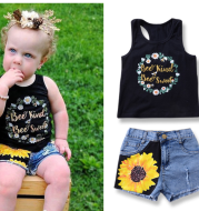 Summer INS new children's letter printing + hole denim shorts girls 2 sets
