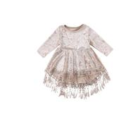 Ins new girls dress 2020 spring fringed children's skirt gold velvet children's dress