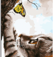 Cat and butterfly oil painting pure hand-painted pollution-free living room bedroom decoration painting kitten butterfly diy digital painting