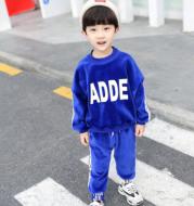 Children's clothing boy plus velvet suit 2020 new autumn and winter children's sweater baby double-faced velvet warm Korean version of the two-piece