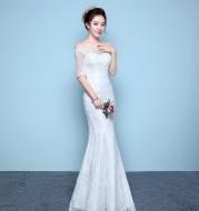 Wholesale wedding dress bride wedding dress factory direct fishtail wedding dress waist fishtail wedding Qi word shoulder