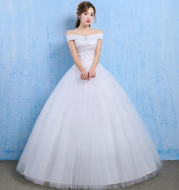 Wedding dress 2020 new bride married Korean style Qi thin one word shoulder wedding tail shoulder spring and summer models