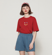 Short-sleeved T-shirt female loose three-color smiley T-shirt