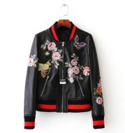 New ladies leather leather female baseball uniform leather jacket ladies spring autumn pu jacket