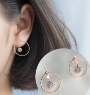 Garden circle zircon drill s925 sterling silver gold plated rear adjustable earrings earrings female