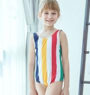 Children's Swimwear Children's Swimwear Girls Children's Big Child Color Stripes Cute Princess Siamese Baby Swimwear