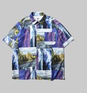 Landscape full version digital print loose short sleeve men's shirt Hawaii