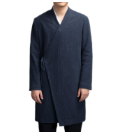 Spring national costume Chinese style ancient cotton and linen slanting Hanfu men's japan meditation jacket long traditional trench coat