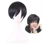 Cos anime black deacon short hair wig