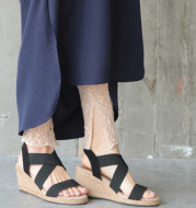 Wedge sandals female simple stretch cloth straw fisherman Roman sandals