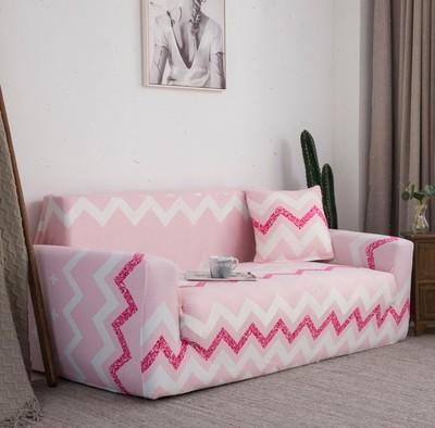 Housse de canapé rose avec ligne blanc et fushia