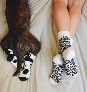 Leopard Dalmatian Black White Cotton Crew Socks