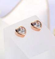 Round Stud Earrings Zircon Micro-Inlaid Gold Earrings