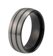 8mm Black Tungsten Wedding Ring for Men Women Dome Double Lines Silver Matte Top Center Comfort Fit