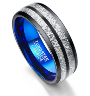 Wedding Band 8mm Width Men/Women Rings Accessories Black Blue Tungsten Carbide Rings Couple Anillos Fashion Jewelry