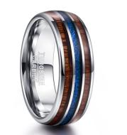 Nuncad Polished 8MM Hawaiian Koa Wood Men Ring Real Size Wedding Bands Blue Imitation Vermiculite 100% Tungsten Carbide Ring