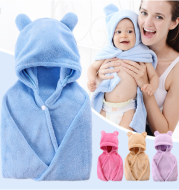 Cotton baby care hooded bath towel