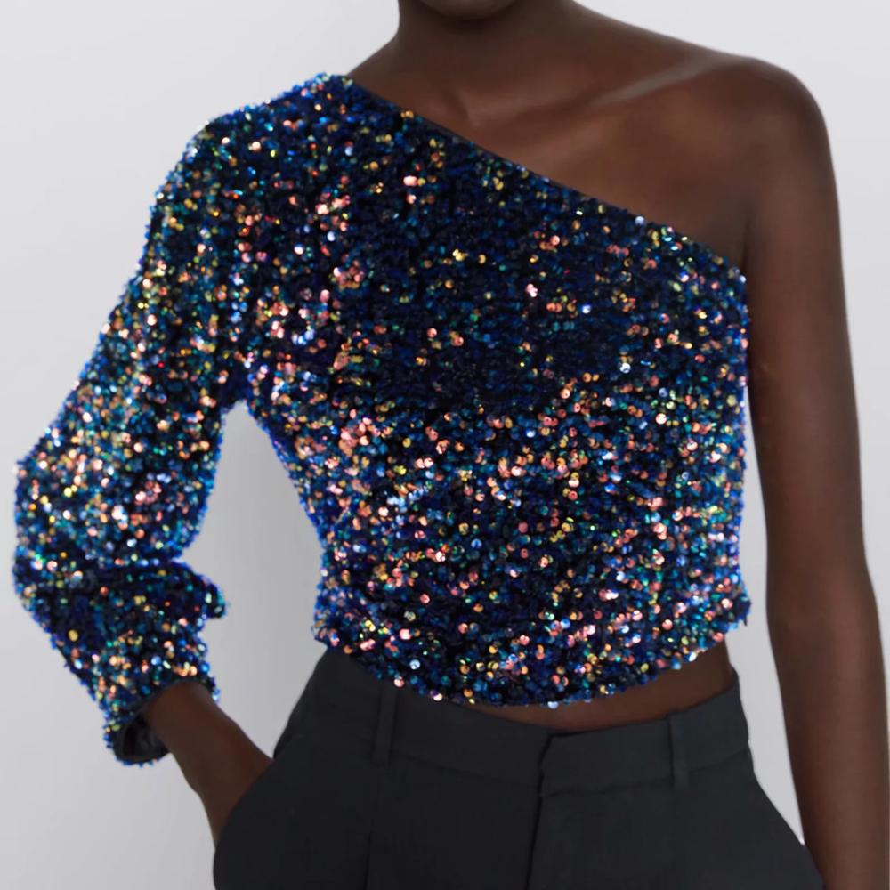314228605644 Sequined Asymmetric Top