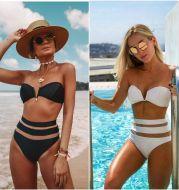 Split swimsuit V-neck mesh bikini
