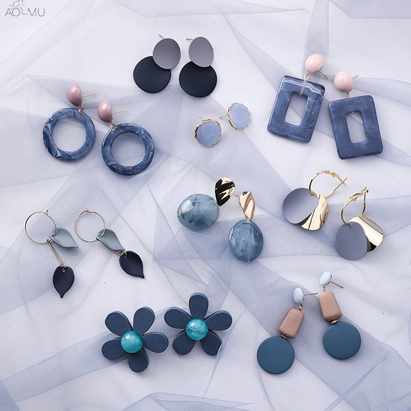 Minimalist popular geometric patterned blue-gray earrings jewelry for women