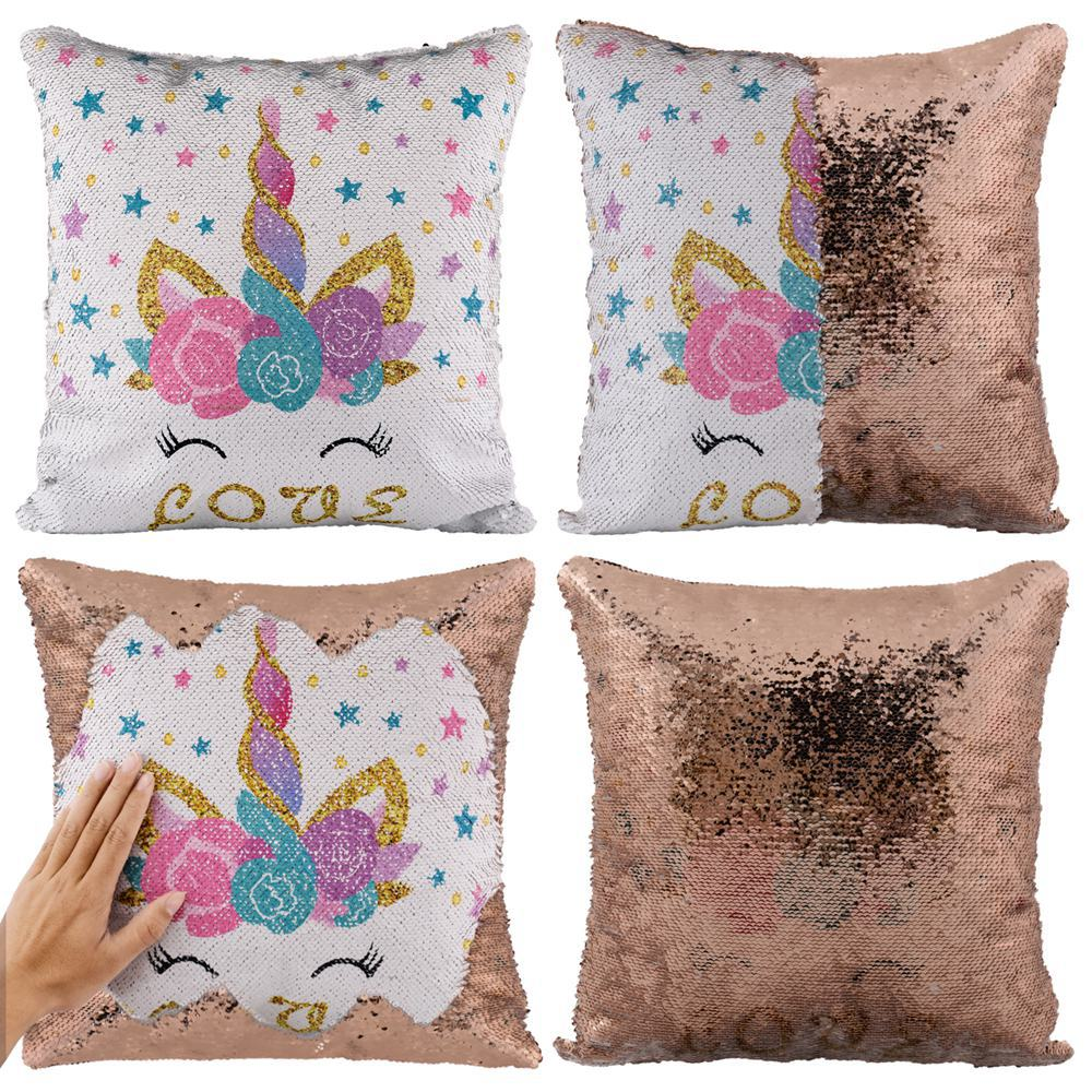 Unicorn Sequined Two-Tone Pillow Case
