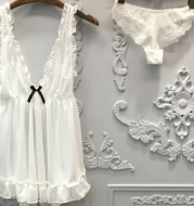 Sexy Women Nightgown+Pantie Set Deep V Lace