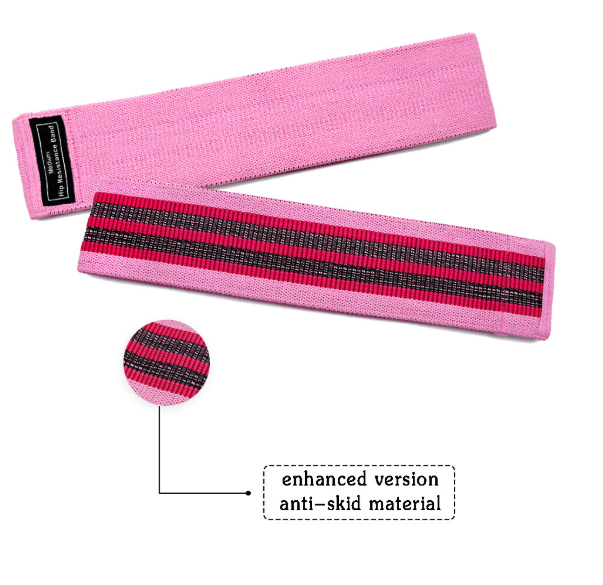Unisex fabric exercise resistance bands stretching durable non-slip for legs and butt loops for gym