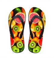 Men/women customized picture summer new type fruit colorful beach flip-flops