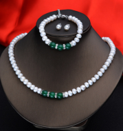 Agate Pearl Necklace Bracelet Ear Stud Set