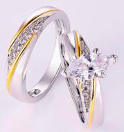 925 Sterling Silver Princess Cut White CZ Bridal Engagement Wedding Ring Set