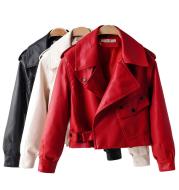 Women's PU Leather Jacket with Short Washed Leather Jacket