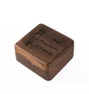 Wooden mechanical music box lettering custom retro music box gift