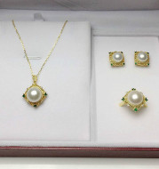 Freshwater Pearl Set Necklace Pendant Earring Ring 4-Piece Set