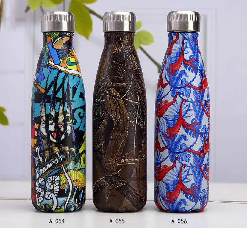 Special Design Water Bottle Stainless Steel Thermos Flask Vacuum Insulated With Different Artistic Models