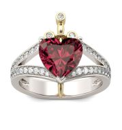 Creative Love Heart Shaped Ruby Crown Ring