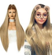 Lace Wig Linen Gradient Long Straight Hair