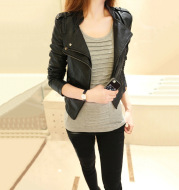 Pu autumn cropped stand-up collar leather jacket