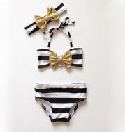 Baby girl striped bow bikini beachwear