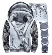 Men's plus fleece sweater sports casual cardigan