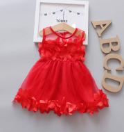 Girls solid color princess skirt dress breathable gauze skirt