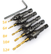 Woodworking countersink drill titanium set 5 pieces